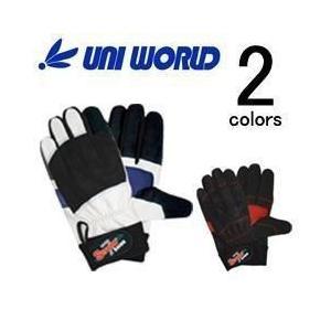 ユニワールド 合成皮革手袋 ストロングセブン SR-7 (BK WH)|kanamono1