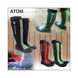 あすつく 長靴 レインブーツ レインシューズ 防水 雨靴 梅雨対策 アトム グリーンマスター 2620|kanamono1
