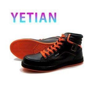 イエテン 安全靴 ミドルG 紐 黒 オレンジN9000 ハイカット|kanamono1