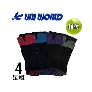 ユニワールド 靴下 黒獅子 指付 4足組 9012|kanamono1