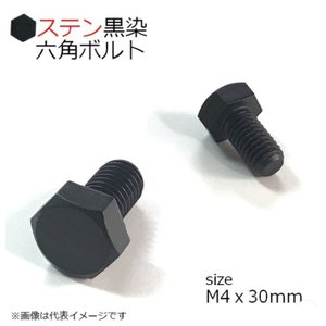 SUS 六角ボルト 黒 M4x30mm 4本入 全ネジ|kanamonoasano