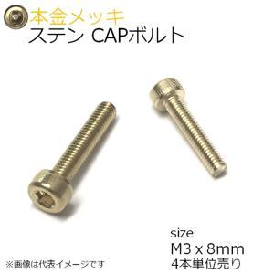 SUS CAPボルト 本金メッキ M3x8mm 4本入 全ネジ|kanamonoasano