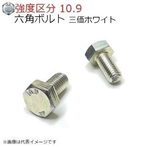 10.9 六角ボルト M8x16mm 三価ホワイト 10本入 全ネジ 日本ファスナー製の画像