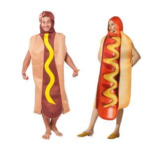 ハロウィン衣装 カップル 大人用 女性用 男性用 メンズ 食べ物 ホットドッグ コスプレ衣装 コスチ...