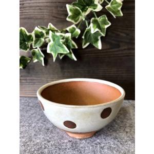 「雪国」汁碗(水玉)/津軽金山焼 金山焼 陶器 日本製 手作り 贈り物 おしゃれ 水玉 碗 器 食器 白 茶碗|kanayamayaki