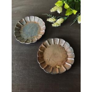 フラワーソーサー/津軽金山焼 金山焼 陶器 日本製 手作り ギフト 記念品 プレゼント 贈り物 おしゃれ 5寸 花形 食器 器 かわいい|kanayamayaki