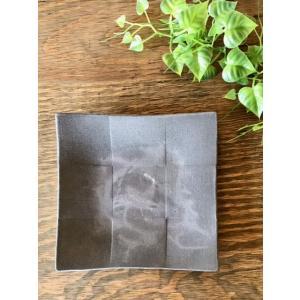 「須恵器」クロス(中)/津軽金山焼 金山焼 陶器 日本製 手作り ギフト プレゼント 贈り物 おしゃれ 黒 皿 角皿 四角 食器 かっこいい 渋い|kanayamayaki