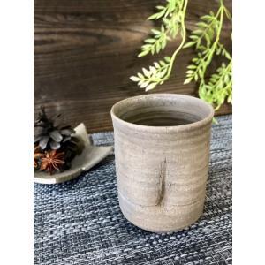 黒ひだすき 竹湯呑|kanayamayaki
