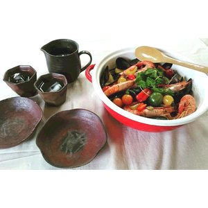 はすの葉(中) 津軽金山焼 金山焼 皿 陶器 日本製 手作り ギフト 小鉢 プレゼント 贈り物 おしゃれ 器 焼締|kanayamayaki