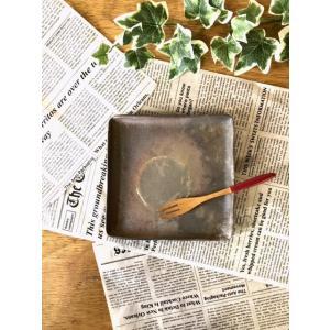 正角皿(小)/津軽金山焼 金山焼 皿 陶器 日本製 手作り ギフト 記念品 プレゼント 贈り物 おしゃれ 器 焼締|kanayamayaki