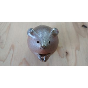 ねずたん(小) /津軽金山焼 金山焼 ねずみ 干支 置物 オブジェ 置き物 かわいい 手作り 日本製 陶器 ネズミ 子年|kanayamayaki