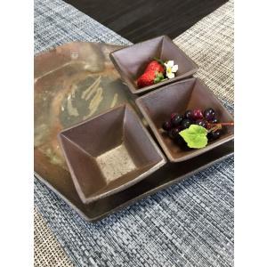 フルーツ小鉢/津軽金山焼 金山焼 陶器 日本製 手作り ギフト 記念品 プレゼント 贈り物 おしゃれ 小鉢 四角 器 食器 お通し つまみ|kanayamayaki