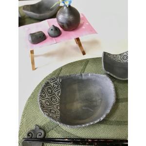 「須恵器」こぎん楕円鉢/津軽金山焼 金山焼 陶器 日本製 手作り ギフト プレゼント 贈り物 おしゃれ お祝 器 こぎん こぎん模様 小鉢 食器|kanayamayaki