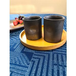 ストレートくぼみカップ(小)/津軽金山焼 金山焼 陶器 日本製 手作り ギフト 記念品 プレゼント 贈り物 おしゃれ ゆのみ コップ 小さい 器 和|kanayamayaki