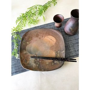 【今ならお得】角プレート 通常4730円/津軽金山焼 金山焼 陶器 日本製 手作り プレゼント 贈り物 おしゃれ 角皿 器 食器 大皿 プレート|kanayamayaki