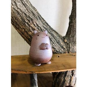 ねこたん/津軽金山焼 金山焼 陶器 ギフト 記念品 プレゼント 贈り物  ねこ ネコ 猫 かわいい 置き物 インテリア 日本製 手作り|kanayamayaki