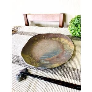 たたら八寸皿 /津軽金山焼 金山焼 皿 陶器 日本製 手作り ギフト 記念品 プレゼント 贈り物 おしゃれ 器 焼締|kanayamayaki