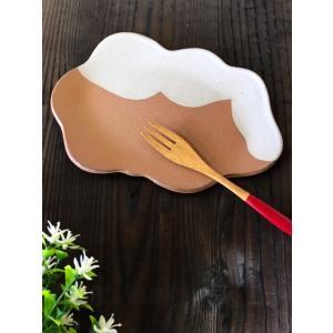 「雪国」クラウディプレート(小)/津軽金山焼 金山焼 陶器 日本製 手作り プレゼント おしゃれ お祝 器 食器 雲 かわいい おもしろい |kanayamayaki