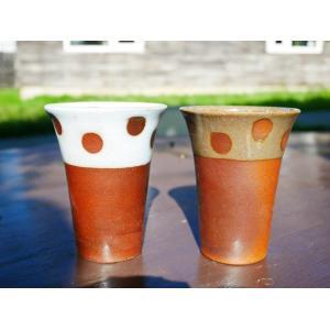 ビアカップ 中(水玉)/金山焼 ビアカップ 水玉 ドット コップ 陶器 おしゃれ カップ プレゼント 手作り 日本製 きめ細かい泡 180ml 食洗器可|kanayamayaki