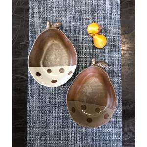 「林檎の森」梨小鉢/津軽金山焼 金山焼 陶器 日本製 手作り ギフト プレゼント おしゃれ 器 焼締 水玉 梨 小鉢 器 食器 かわいい |kanayamayaki