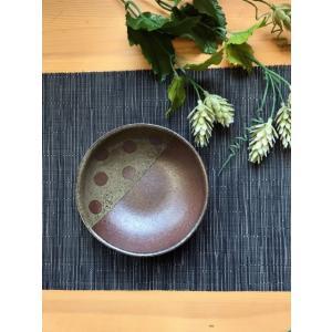 「林檎の森」小鉢 丸(水玉)/津軽金山焼 金山焼 陶器 日本製 手作り プレゼント 贈り物 おしゃれ 器 焼締 お祝 水玉 小鉢 可愛い 食器 |kanayamayaki