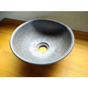 手洗い鉢(黒ひだすき・扇)|kanayamayaki