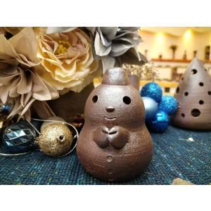 ゆきだるまたん/津軽金山焼 金山焼 陶器 ギフト 記念品 プレゼント 贈り物 おしゃれ 日本製 手作り 雪だるま かわいい 置き物 インテリア|kanayamayaki