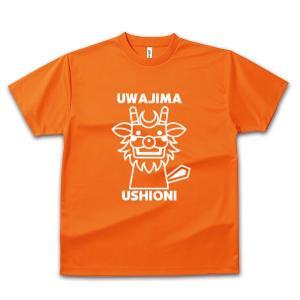 四国・宇和島 子供用Tシャツ オリジナルデザイン(うしおに) オレンジ×ホワイト|kanbankobo