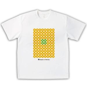 四国遍路 男女兼用Tシャツ オリジナルデザイン 袖振り合うも多生の円(オレンジ)|kanbankobo
