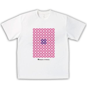 四国遍路 男女兼用Tシャツ オリジナルデザイン 袖振り合うも多生の円(ピンク)|kanbankobo