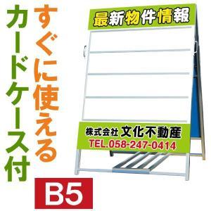 立て看板 不動産 A型 スタンド看板 H140×W91 ( B5カードケース24枚付 規格デザイン入り a型 店舗用 看板 )|kanbanshop