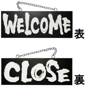 ドアプレート 木製 サイン 看板  「 WELCOME CLOSE 」 ウエルカムクローズ 両面 ( H 15cm × W 40cm 中サイズ 黒地 英語 手書き 筆文字風 木札 )|kanbanshop