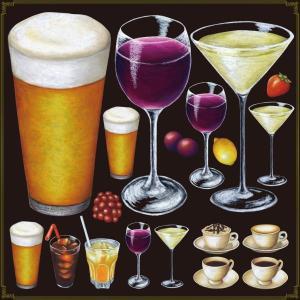 シール ビール ワインドリンク 装飾 デコレーション チョークアート 窓 黒板 看板 ステッカー(最低購入数量3枚〜)|kanbanshop