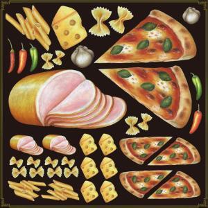 シール ピッツァ ハムチーズバイキング 装飾 デコレーション チョークアート 窓 黒板 看板 ステッカー(最低購入数量3枚〜)|kanbanshop