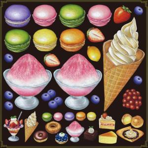 シール マカロン フラッペ アイスクリーム 装飾 デコレーション チョークアート 窓 黒板 看板 ステッカー(最低購入数量3枚〜)|kanbanshop