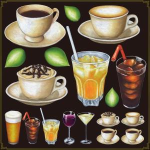 シール ティーカップ コーヒー ジュースドリンク 装飾 デコレーション チョークアート 窓 黒板 看板 ステッカー(最低購入数量3枚〜)|kanbanshop