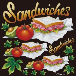 シール サンドイッチ トマトランチメニュー 装飾 デコレーション チョークアート 窓 黒板 看板 ステッカー(最低購入数量3枚〜)|kanbanshop