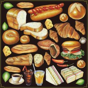 シール サンドイッチとホットコーヒーセット 装飾 デコレーション チョークアート 窓 黒板 看板 ステッカー(最低購入数量3枚〜)|kanbanshop