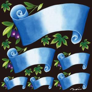 シール 無地 りぼん風 青色 装飾 デコレーション チョークアート 窓 黒板 看板 ステッカー(最低購入数量3枚〜)|kanbanshop