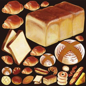 シール バターロール 食パン 装飾 デコレーションシール チョークアート 窓ガラス 黒板 看板 POP ステッカー 用|kanbanshop