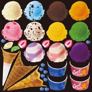 シール ワッフルコーンアイス 装飾 デコレーション チョークアート 窓 黒板 看板 ステッカー(最低購入数量3枚〜)|kanbanshop