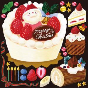 デコレーション シール 黒板 POP 看板 ステッカー ( クリスマス ショートケーキ ) kanbanshop