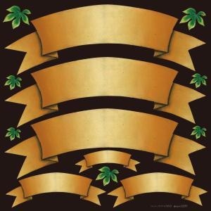 シール 無地 りぼん風 黄土色 装飾 デコレーション チョークアート 窓 黒板 看板 ステッカー(最低購入数量3枚〜)|kanbanshop