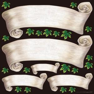 シール 無地 りぼん風 アイボリー色 装飾 デコレーション チョークアート 窓 黒板 看板 ステッカー(最低購入数量3枚〜)|kanbanshop