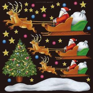 シール クリスマスサンタとソリ 装飾 デコレーションシール チョークアート 窓ガラス 黒板 看板 POP ステッカー 用|kanbanshop
