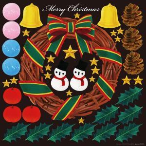 シール クリスマスリース 装飾 デコレーション チョークアート 窓 黒板 看板 ステッカー(最低購入数量3枚〜)|kanbanshop