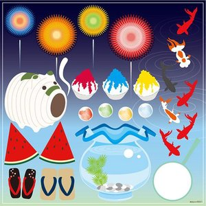 シール 夏祭り 花火 かき氷 金魚鉢 スイカ 蚊取り線香 装飾 デコレーション チョークアート 窓 黒板 看板 ステッカー(最低購入数量3枚〜) kanbanshop