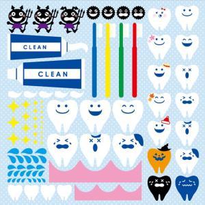 シール 歯科 医院 歯医者 虫歯 歯 歯茎 歯ブラシ 歯磨き粉 装飾 デコレーションシール チョークアート 窓ガラス 黒板 看板 POP ステッカー 用|kanbanshop