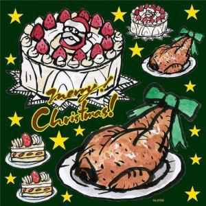 シール クリスマスケーキ チキン 星マーク 筆書き 装飾 デ...