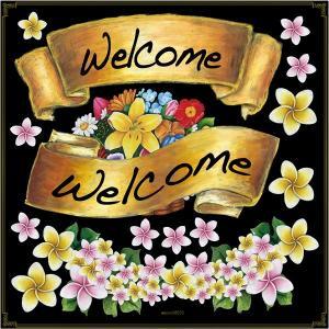 シール リボン welcome 花 装飾 デコレーション チョークアート 窓 黒板 看板 ステッカー【最低購入数量3枚〜】|kanbanshop